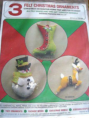 Christmas-Holiday-Craft-Felt-Tree-Ornament-KIT-SNOWMAN-REINDEER-STOCKING-NIP