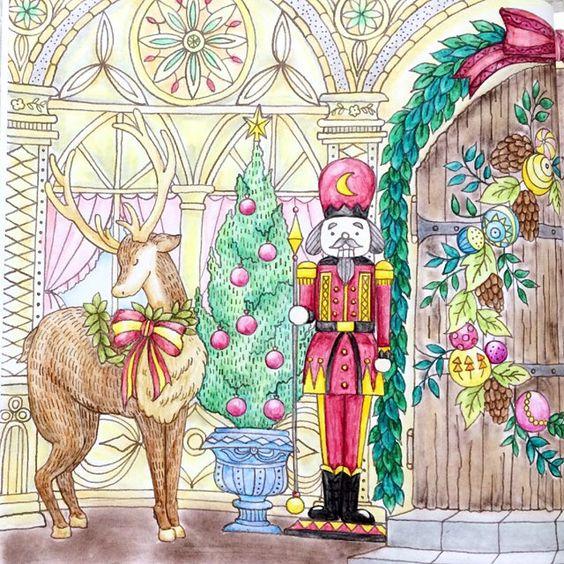 左側。 #コロリアージュ #coloriage #大人の塗り絵 #おとなの塗り絵  #coloringbook #ロマンティックカントリー #水彩色鉛筆 #ファーバーカステル #farbercastell #パステル #ソフトパステル #softpastels #pastel #dalerrowney #ラウニー #クリスマス #christmas