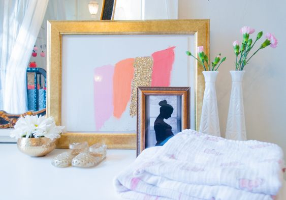 Simple, DIY artwork that anyone could do - brushstroke artwork in the color scheme of your nursery!