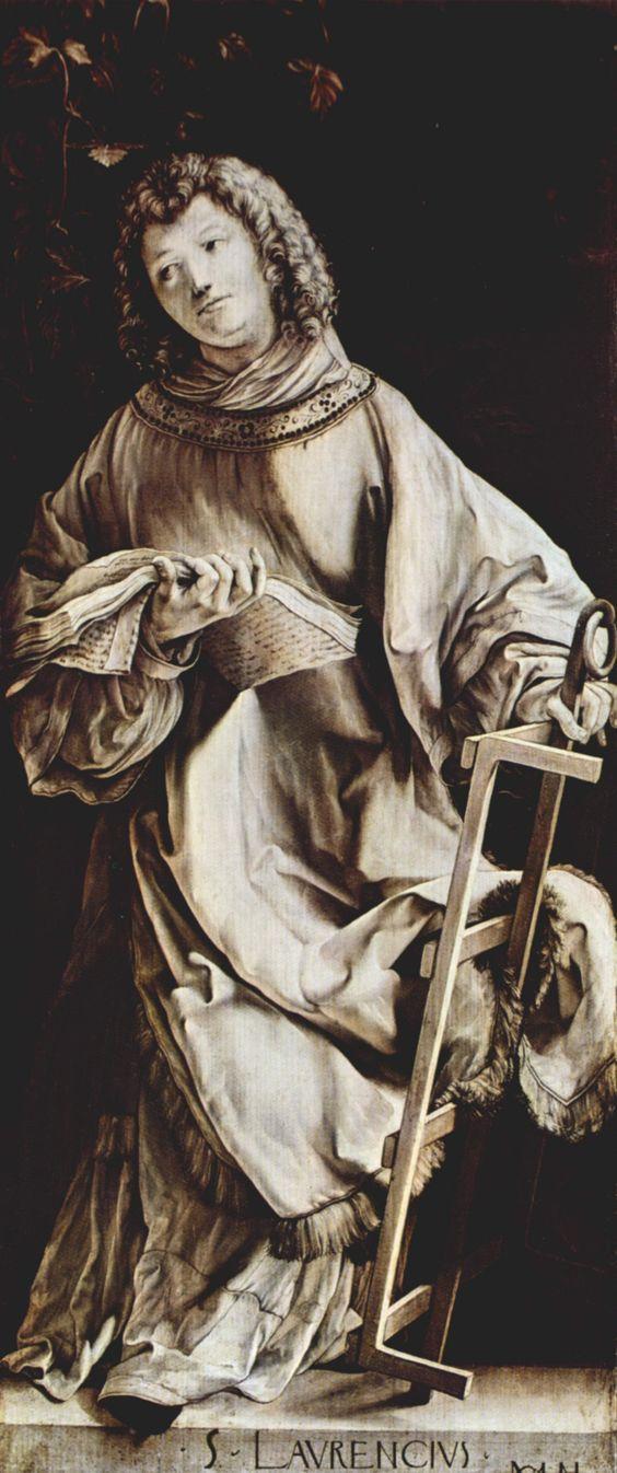 """Matthias Grünewald, c.1475-1528, German, St Lawrence (detail from the """"Heller Altarpiece), 1509-11. Grisaille on oak, 98 x 43 cm (each). Städelsches Kunstinstitut, Frankfurt. Northern Renaissance."""