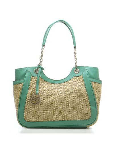Nicole Straw Scoop Double Shoulder Bag with Chain Handle - Turquoise