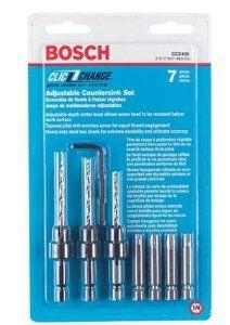 Quick Change Countersink/Dril Bits -Bosch CC2460 Clic-Change 7-Piece Phillips Bit and Countersinking Set - $23    Choose a countersink bit that matches your wood screws.