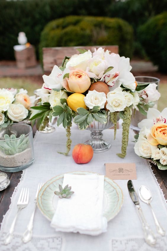 Peaches and mint Green place setting. Designed by ElissaKeno.com shot by KellieKanoPhotography.com