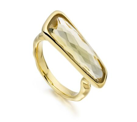 Riva Stick Ring in 18ct Gold Plated Vermeil on Sterling Silver with Lemon Quartz