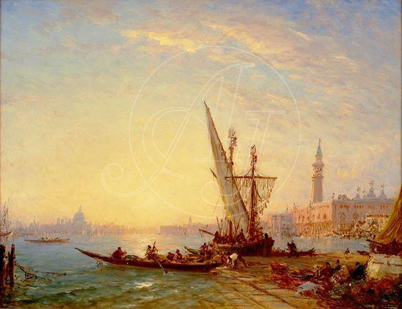 Félix Ziem (1821-1911). Le Quai des Esclavons. Huile sur panneau / Signée en bas à droite. Son style évoluera sans cesse avec le temps. Mais Ziem est surtout l'un des derniers peintre-artisan, utilisant des pigments naturels pour fabriquer lui même ses couleurs, en particulier le lapis-lazuli pour les bleus. Une grande partie de sa vie a été tournée vers la recherche du soleil, et, pour un artiste, c'est la lumière du soleil qui génère les couleurs. Dans des lieux comme Venise…