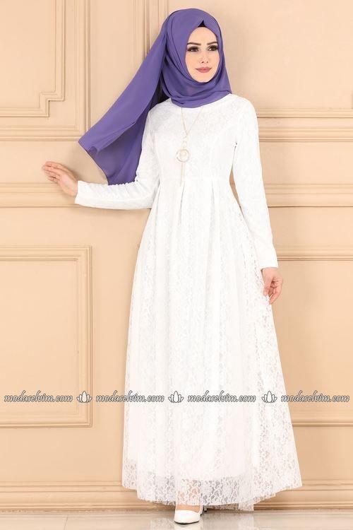 Modaselvim Elbise Kolyeli Dantel Elbise 5121ay342 Ekru Abayas Fashion Beautiful Muslim Women Hijab Fashion