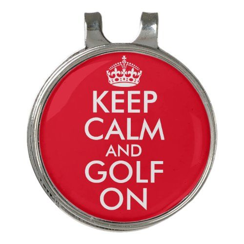 Keep Calm And Golf On Ball Marker Hat Clip Zazzle Com Ball Markers Personalized Golf Ball Marker Hat Clips