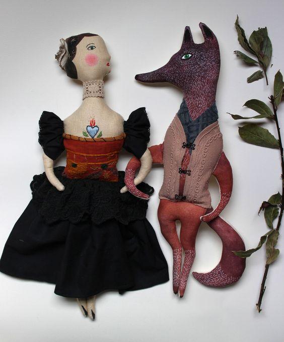 Lady Pavlova & Mr Wolf Gustav Fabric `hand made art dolls