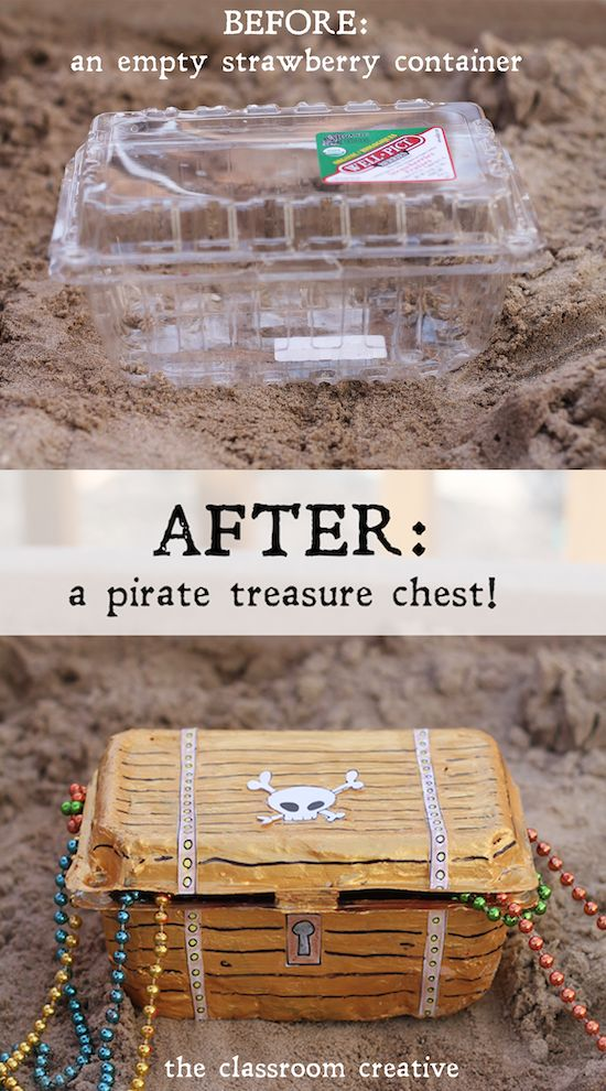 From strawberry container to pirate treasure chest!  A fun craft tutorial from theclassroomcreative.com:
