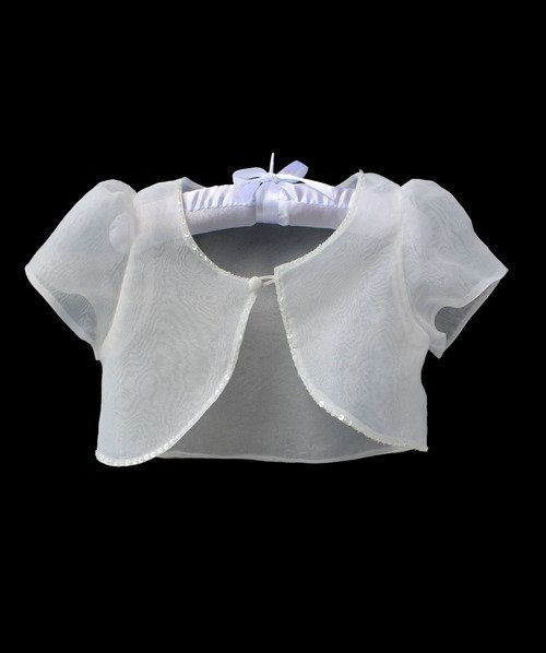 Girls Kids Beaded Bolero Shrug Jacket Flower Bridesmaid Wedding Short Cardigan