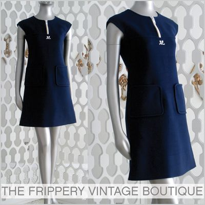 Vintage 60s COURREGES COUTURE FUTURE Iconic MINI DRESS S