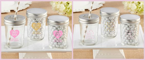 Pink & Gold Baby Shower Glassware - Mason Jars from HotRef.com