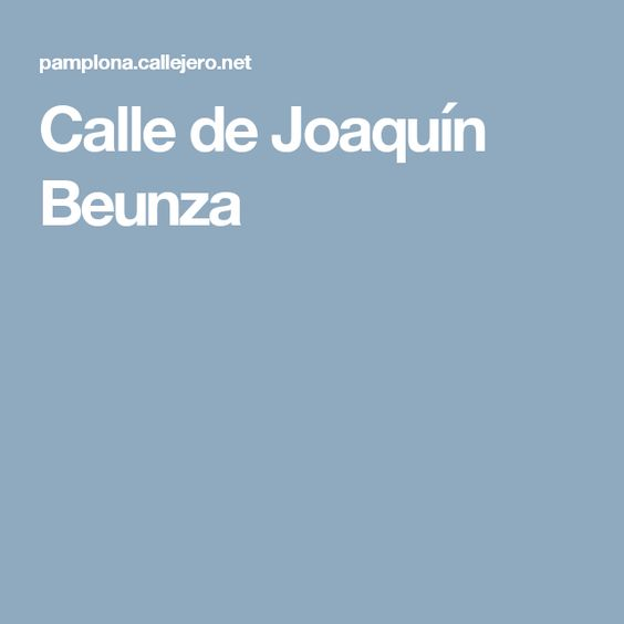 Calle de Joaquín Beunza