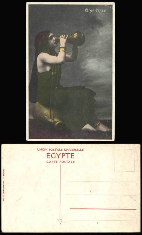 Egypt c.1917 Old Postcard ORIENTALE Native Egyptian Woman Lady Drinking, Pitcher