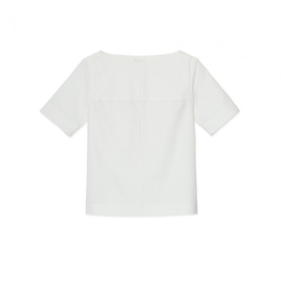 Simple Seam Top in White/White by Trademark