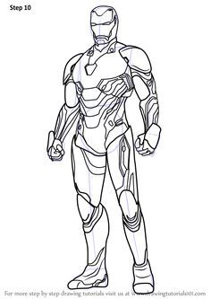 Step By Step How To Draw Iron Man From Avengers Infinity War Drawingtutorials101 Com Iron Man Drawing Iron Man Pictures Iron Man Art