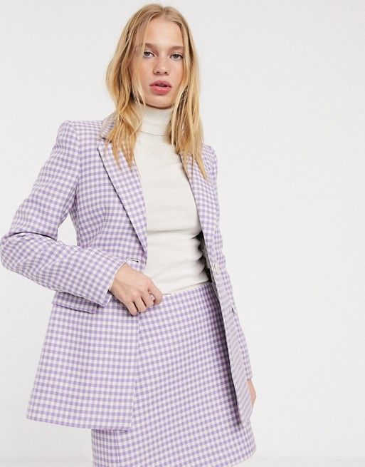 & Other Stories gingham check sculpted blazer in lilac | ASOS