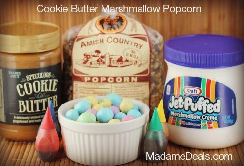 Cookie Butter Marshmallow Popcorn http://madamedeals.com/cookie-butter-marshmallow-popcorn/ #inspireothers #recipes #cookiebutter