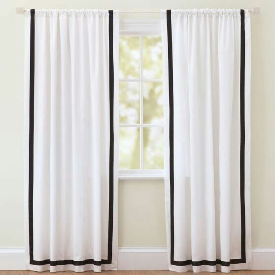 On Color Splash They Did White Black Curtains But The 4 Border Went All The Way Around Like A Frame Loved It Curtains Black Curtains White Curtains