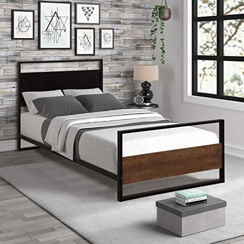 New Twin Bed Frame Metal Wood Bed Frame Headboard Footboard