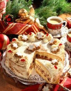 Lebkuchen-Zimt-Torte Rezept: Stücke,Eier,Zucker,Orangenfrucht,Mehl,Speisestärke,Backpulver,Gelatine,Marzipan-Rohmasse,Puderzucker,Schokolade,Schlagsahne,Mascarpone,Vollmilch-Joghurt,Zimt,Orangensaft,Himbeergelee,Vanillin-Zucker,Belegkirschen,Zimtsterne,Backpapier,Ausrollen