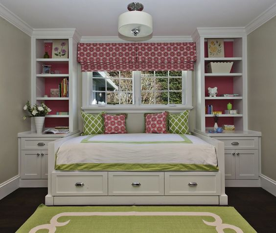 For Shared Kids Bedroom Paint Color: Fiorella Design: Sweet Pink & Green Girl's Bedroom With