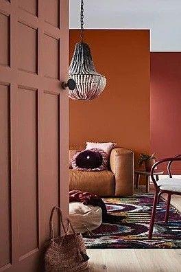 Décoration mur entrée salon rouge brique orange ou terre ...