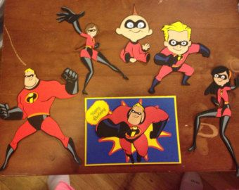 Set of 5 of the Incredibles die cuts with Birthday Card by scrappinbjs. Explore more products on http://scrappinbjs.etsy.com