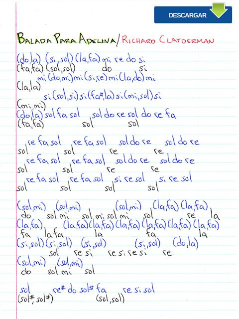 Notas Musicales Balada Para Adelina Richard Clayderman Notas Musicales Video Y Partitura Balada Para Adelina Notas De Canciones Notas Musicales