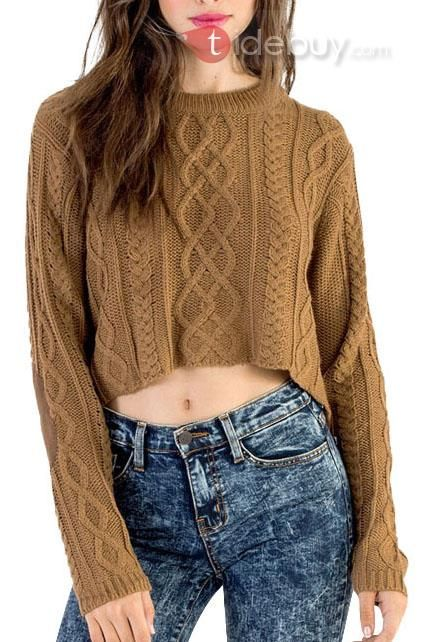ソリッドカラー腹部アップリケ長袖セーター