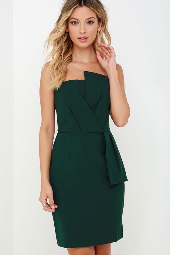 Sweet and Sassy Dark Green Strapless Dress - Strapless dress ...