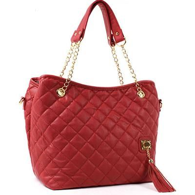 New WOMENS RED HANDBAG TOTE BAG Quilting SHOULDER Bag FREE SHIPPING!