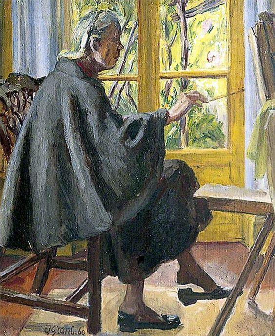 "'Vanessa Bell', c.1960  by Duncan Grant. The last portrait Duncan painted of Vanessa. After her death in 1961, Grant wrote to his friend Raymond Mortimer: ""It's a very good thing I have such a long period of happiness to look back to, but I dread the emptiness ahead."""