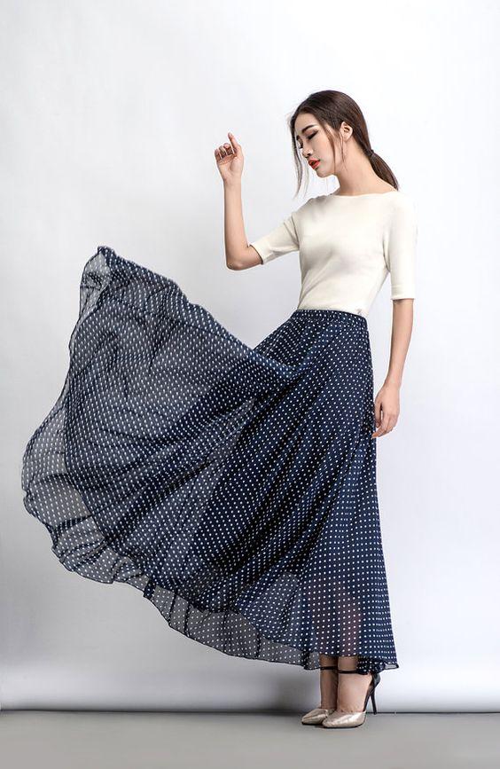 Polka Dot Chiffon Skirt Maxi Long Floaty Sheer Spotty by YL1dress
