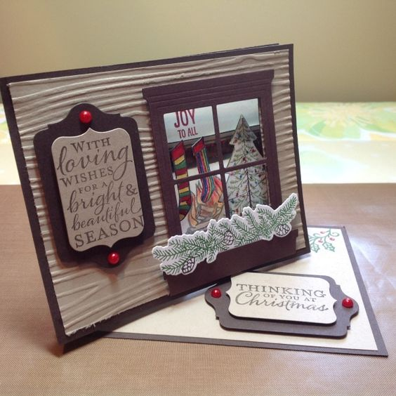 Holiday Twisted Easel Card by Beatriz Redd,  Front view of this twisted easel card. You can put an electric candle in back of the fireplace to make it look like it's lit.