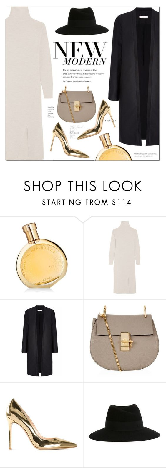 """Keep it simple!"" by stellaasteria ❤ liked on Polyvore featuring Hermès, TIBI, Chloé, Gianvito Rossi and Maison Michel"