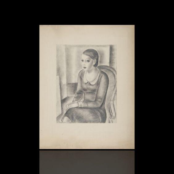 Expertissim - Zygmunt Szpingier. Jeune femme dans un fauteuil, dessin - 2014031377