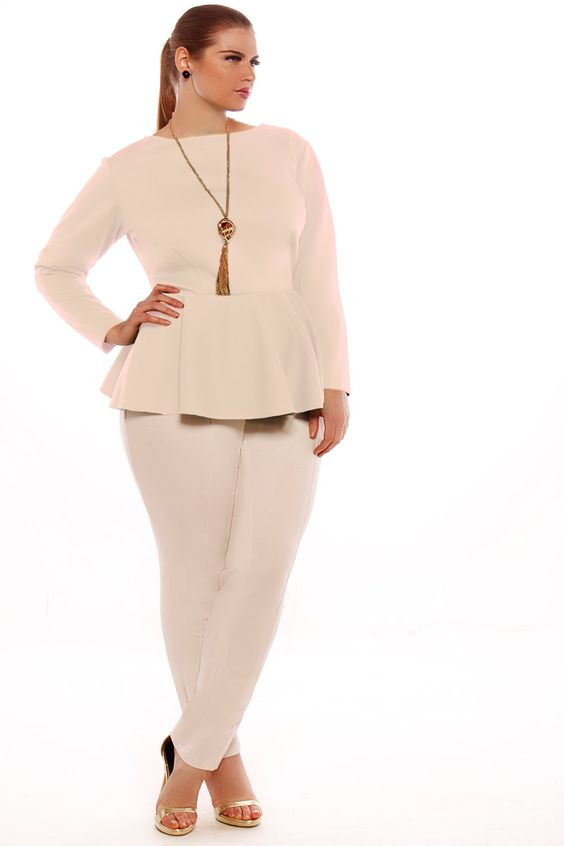 JIBRI Plus Size Peplum Top Solid by jibrionline on Etsy, $110.00