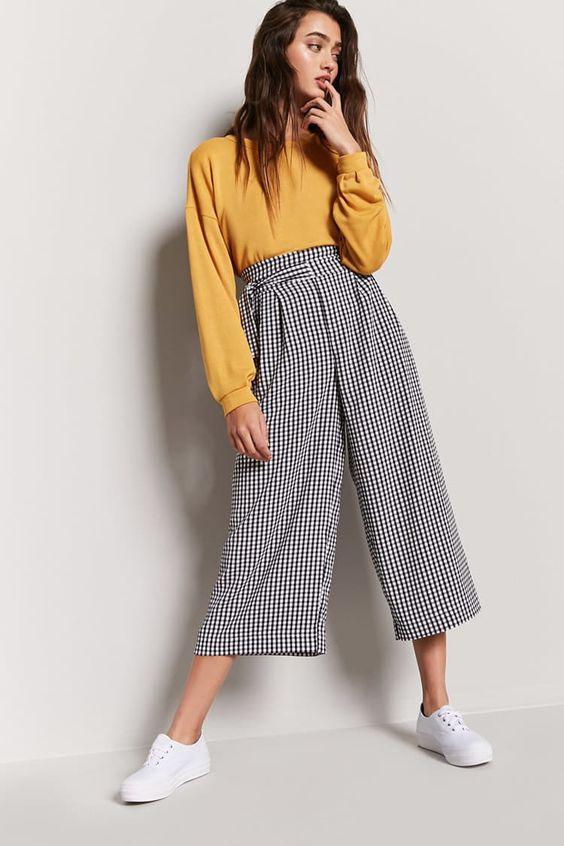 Pantalón Cropped Cuadros Vichy - Mujer - Pantalones + Faldas - 2000260060 - Forever 21 EU Español