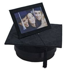 Black Suede Graduation Frame with Hat