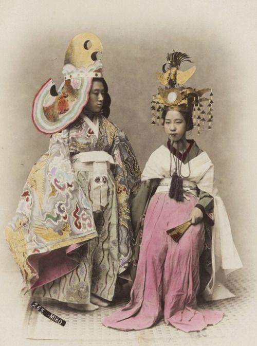 Miko - Japanese shrine maiden. 1880's, Japan. Hand-colored photo by Kimbei Kusakabe