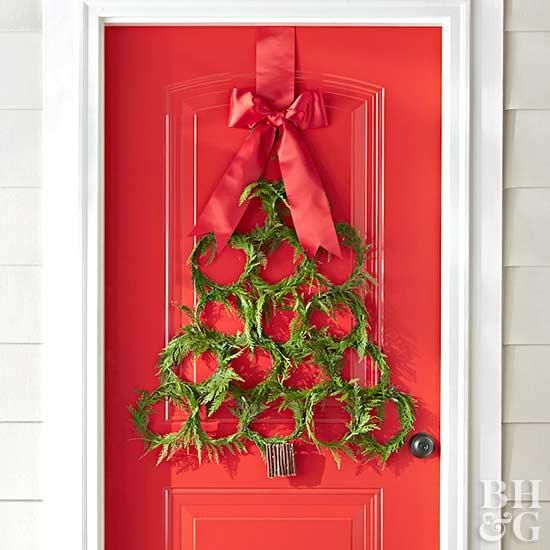 Add holiday cheer to your front door with this Christmas tree