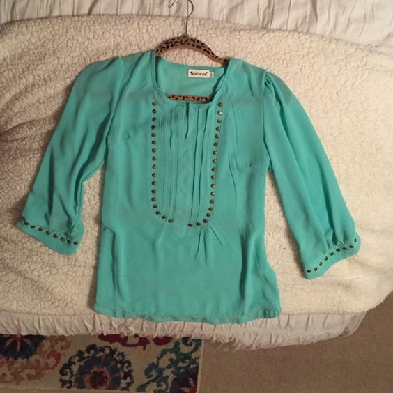Aqua blouse Aqua blouse from She Inside. Size small BUT fits like an extra small. Semi-sheer and very cute. Never worn. Tops Blouses