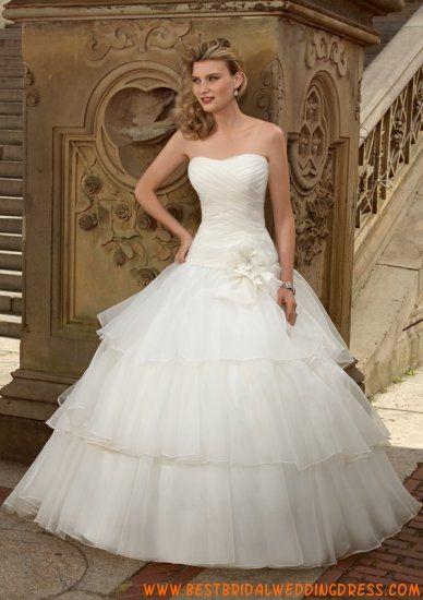 Ball Gown Strapless Multi-Layer Satin Organza Wedding Dress