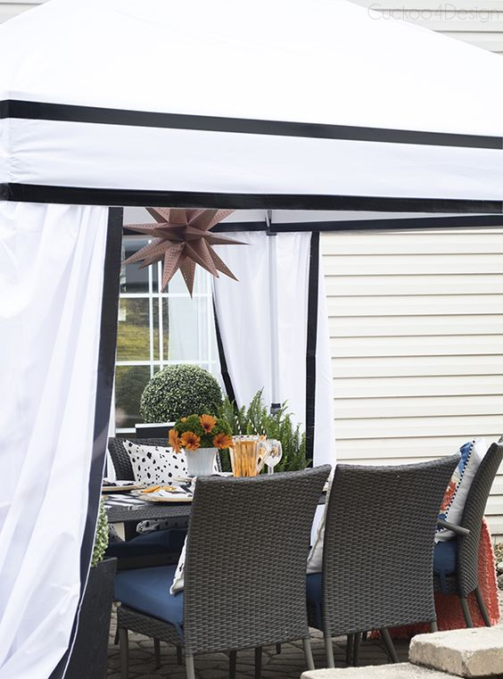 DIY cabana made from commercial pop-up tent - Cuckoo4Design