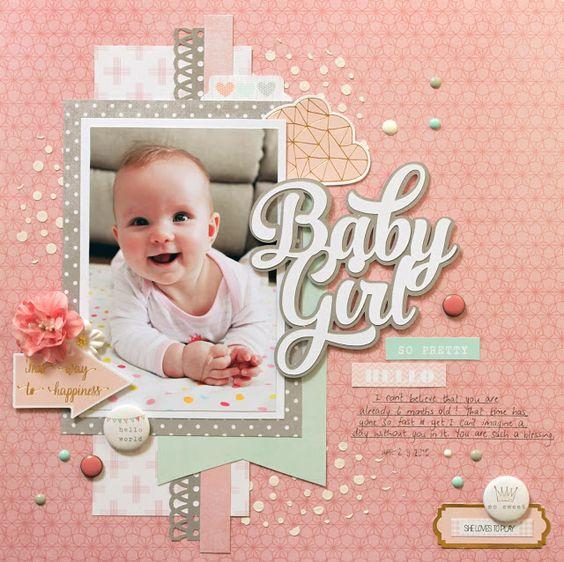 Baby Girl scrapbook layout by Mandy Melville