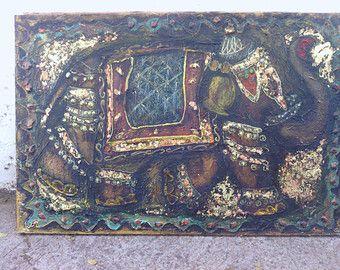 VENTE ! éléphant en or, art artisanal, unigue, peinture, décoration de mur