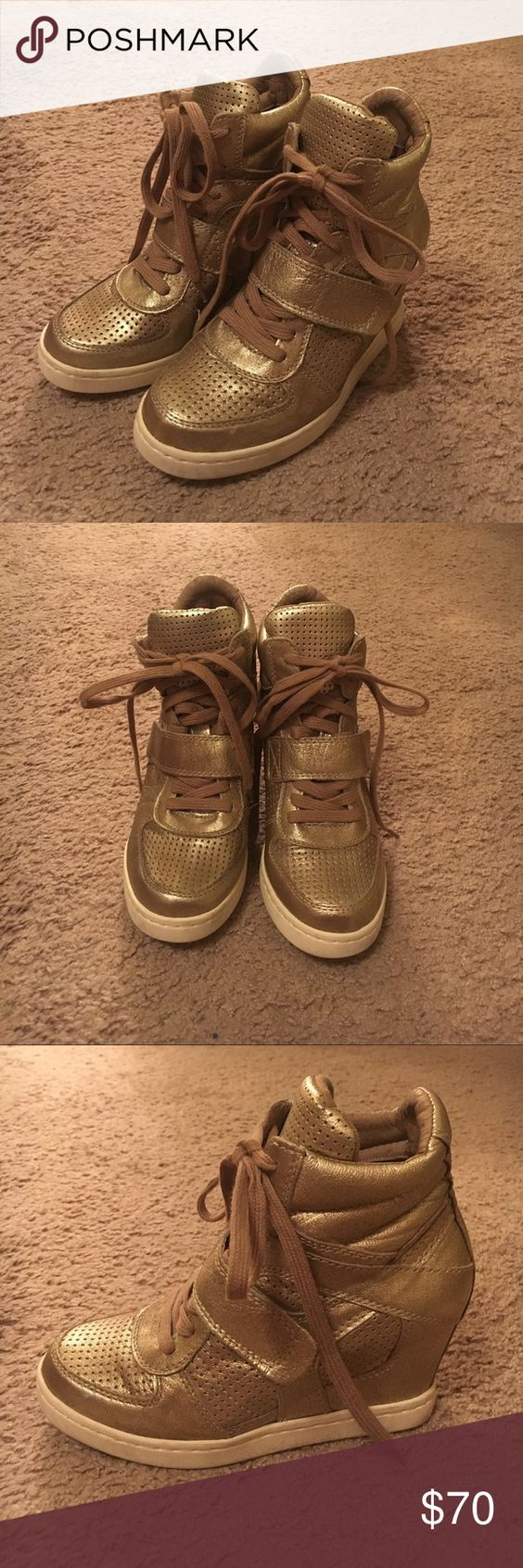 Ash Bowie wedge sneakers, metallic gold Used, good condition Ash Shoes Wedges