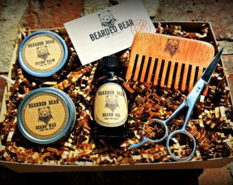 beard grooming kit oil wax balm wood comb scissors all included hand made in the u. Black Bedroom Furniture Sets. Home Design Ideas