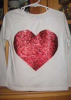 DIY TUTORIAL: Valentines t-shirt. Heat set the glitter using wax paper!